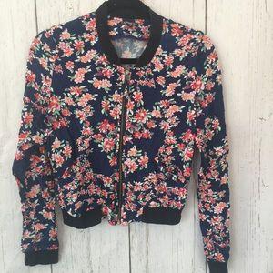 Express floral bomber jacket zip up front